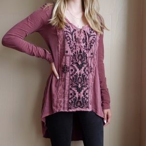 Free People Embroidered Lace Up Tunic Blouse